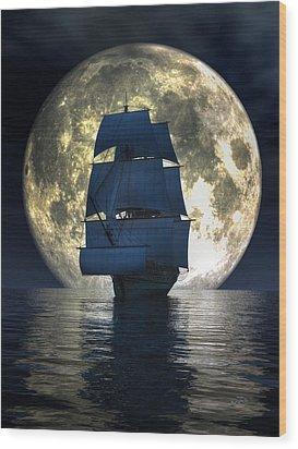 Full Moon Pirates Wood Print