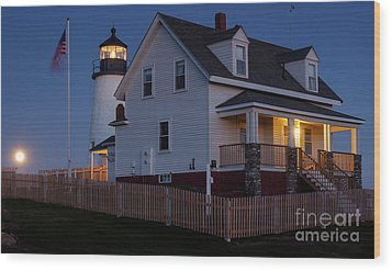 Full Moon Rise At Pemaquid Light, Bristol, Maine -150858 Wood Print