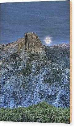 Full Moon Rising Behind Half Dome Wood Print