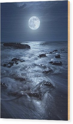 Full Moon Rising Over Coral Cove Beach In Jupiter, Florida Wood Print by Justin Kelefas