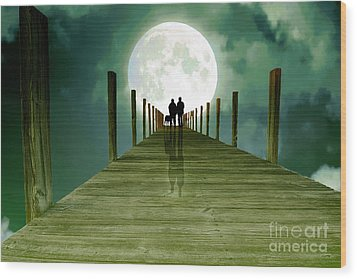 Full Moon Silhouette Wood Print by Mim White