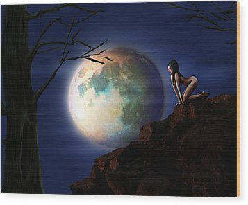 Full Moon Wood Print by Virginia Palomeque