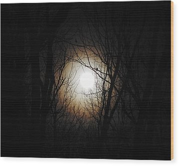 Full Pink Moon Rising Wood Print by Traci York