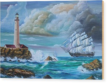Wood Print featuring the painting Full Sail by Mike Ivey