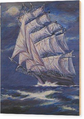 Full Sails Under Full Moon Wood Print by Thomas Restifo