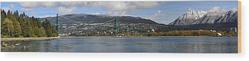 Full View Of The Lion's Gate Bridge Vancouver City  Wood Print by Pierre Leclerc Photography