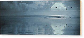 Fullmoon Over The Ocean Wood Print