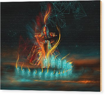 Fully Charged Wood Print by Carmen Hathaway