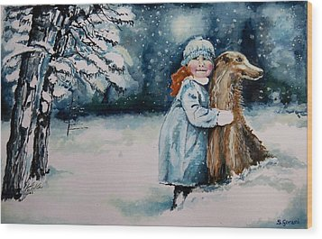Fun In The Snow Wood Print by Geni Gorani