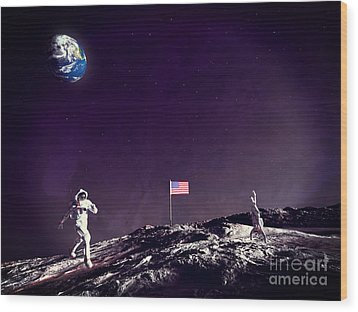 Wood Print featuring the digital art Fun On The Moon by Methune Hively