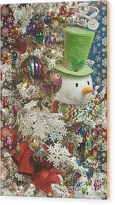 Fun Snowman Holiday Greeting Wood Print