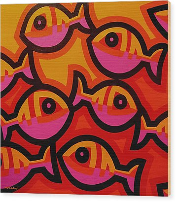 Funky Fish Iv Wood Print by John  Nolan