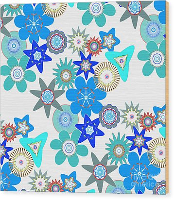 Funky Flower Pattern Wood Print by Methune Hively