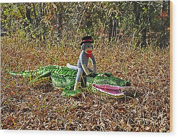 Wood Print featuring the photograph Funky Monkey - Reptile Rider by Al Powell Photography USA