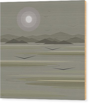 Wood Print featuring the digital art Funky Moon Birds by Val Arie