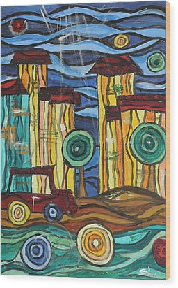 Wood Print featuring the painting Funky Town by Sladjana Lazarevic