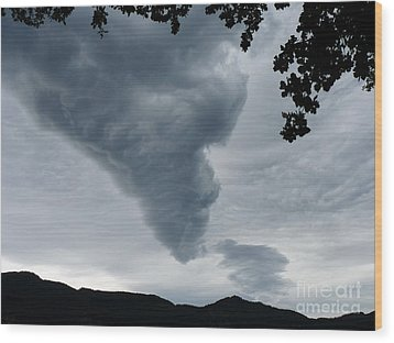 Wood Print featuring the photograph Funnel Cloud Over The Mountains by Menega Sabidussi