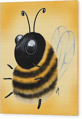 Wood Print featuring the painting Funny Bee by Veronica Minozzi