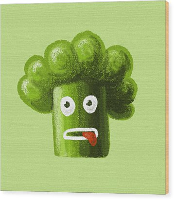 Funny Broccoli Wood Print