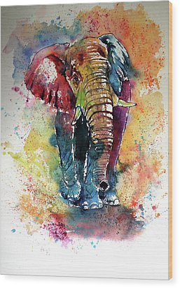 Wood Print featuring the painting Funny Elephant by Kovacs Anna Brigitta