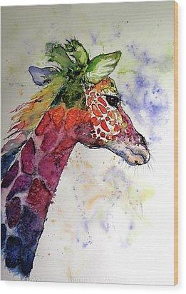 Wood Print featuring the painting Funny Giraffe by Kovacs Anna Brigitta