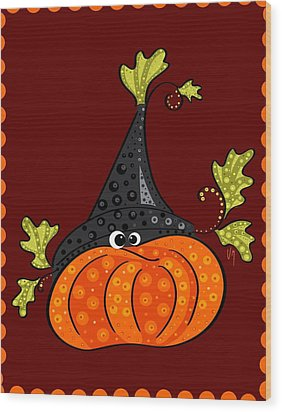 Wood Print featuring the painting Funny Halloween by Veronica Minozzi