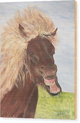 Funny Iceland Horse Wood Print