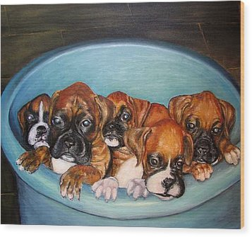 Funny Puppies Orginal Oil Painting Wood Print by Natalja Picugina