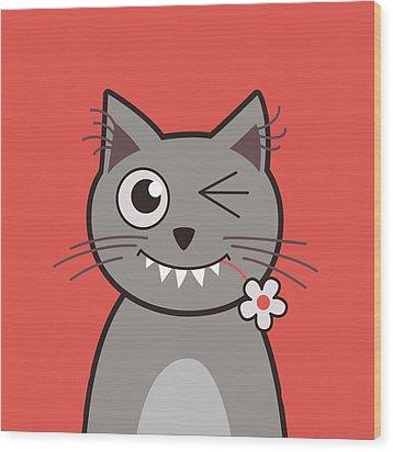 Funny Winking Cartoon Kitty Cat Wood Print