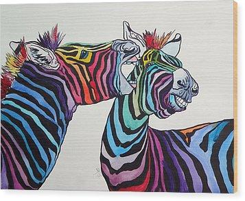 Funny Zebras Wood Print