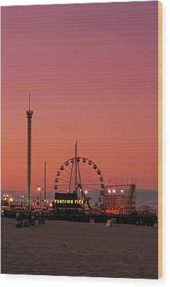 Funtown Pier At Sunset II - Jersey Shore Wood Print