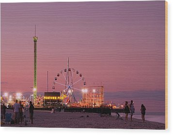 Funtown Pier At Sunset IIi - Jersey Shore Wood Print