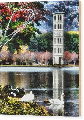 Furman University Bell Tower Wood Print by Lynne Jenkins