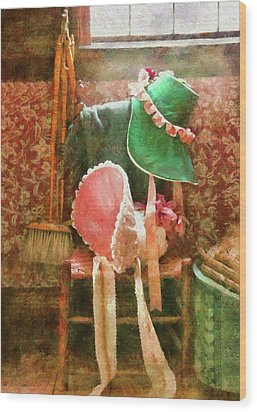Furniture - Chair - Bonnets  Wood Print by Mike Savad