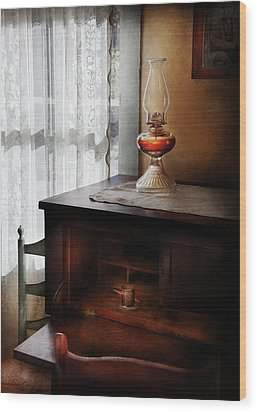 Furniture - Lamp - I Used To Write Letters  Wood Print by Mike Savad