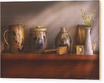Furniture - Shelf - Family Heirlooms  Wood Print by Mike Savad