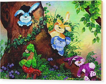 Furry Forest Friends Wood Print by Hanne Lore Koehler