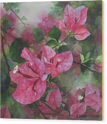 Fuschia Bougainvillea Wood Print by Karen  Sioson