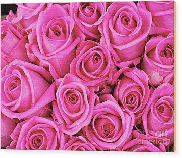 Fuschia Colored Roses Wood Print