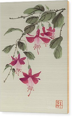 Wood Print featuring the painting Fuschia Pink by Yolanda Koh