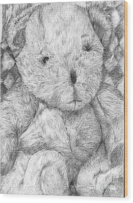 Wood Print featuring the drawing Fuzzy Wuzzy Bear  by Vicki  Housel