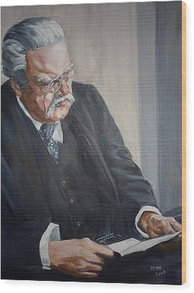 Wood Print featuring the painting G K Chesterton by Bryan Bustard