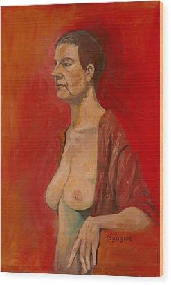 Wood Print featuring the painting Gabrielle Standing by Ray Agius