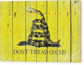 Gadsden Flag On Old Wood Planks Wood Print