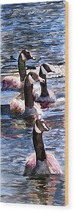 Wood Print featuring the painting Gaggle Of Geese by Jim Phillips