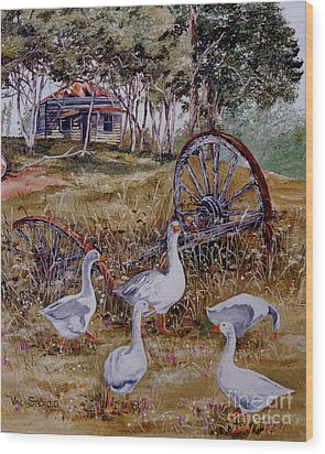Gaggling Geese Wood Print by Val Stokes
