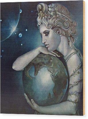 Gaia Wood Print by Geraldine Arata