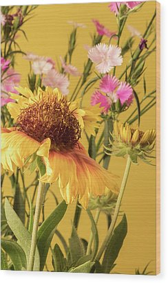 Gaillardia And Dianthus Wood Print by Richard Rizzo