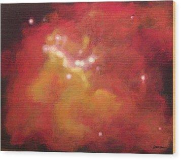 Galaxy M20 Possible Merging Of 2 Black Holes Wood Print by Jim Ellis