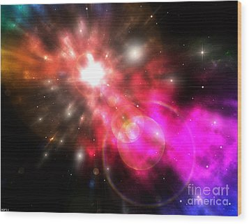 Wood Print featuring the digital art Galaxy Of Light by Phil Perkins